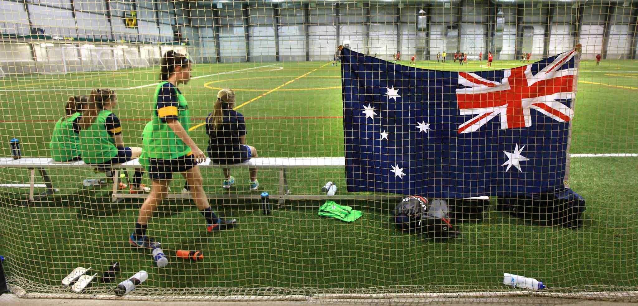 "Team Australia raised their banner over the Subway Soccer Field Wednesday and their older more experienced squad showed a ""hybrid"" Bonivital U14 Girls Premier team the ropes from down under."