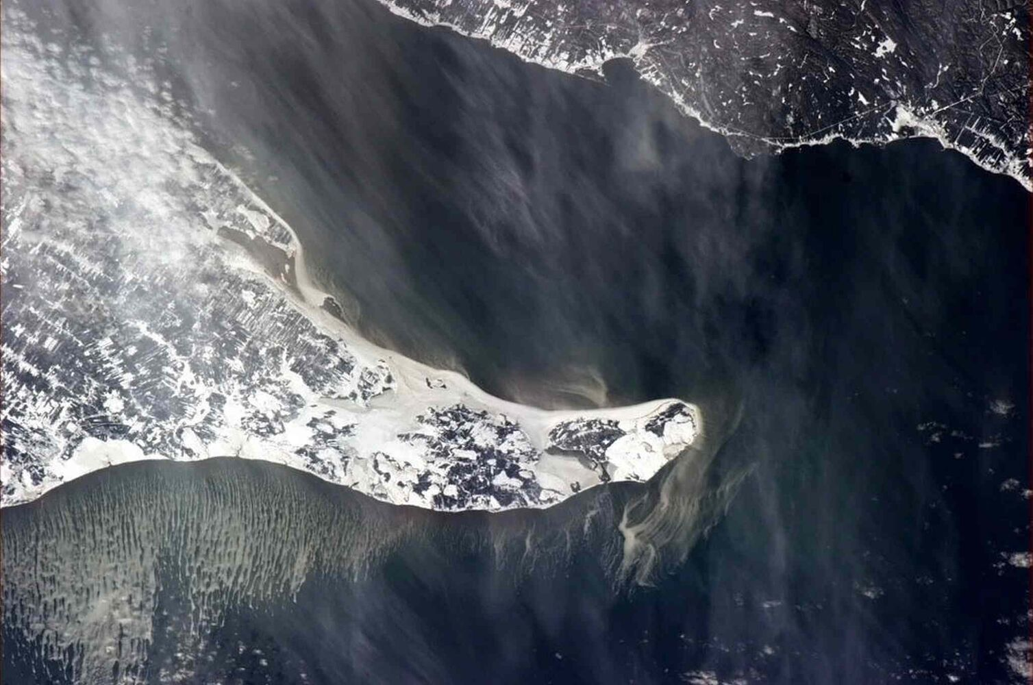 The Baie-des-Chaleurs, separating Quebec's Gaspe Peninsula (top right) and New Brunswick's Acadian Peninsula (centre), is shown in a photo posted on Twitter on Jan. 4, 2013 by Canadian astronaut Chris Hadfield.