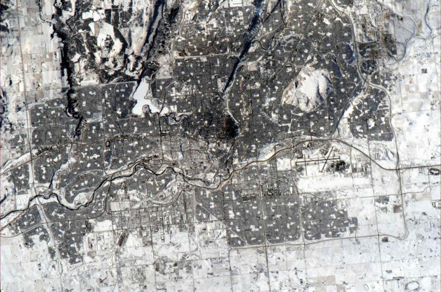 Calgary is pictured from space on a clear winter's day on Jan. 3, 2013, in a photo posted on Twitter by Canadian astronaut Chris Hadfield. (Chris Hadfield / NASA / The Canadian Press archives)