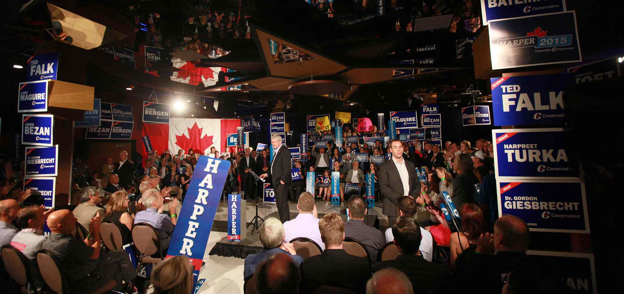 Prime Minister Stephen Harper at a party rally held in Winnipeg Thursday afternoon. (Phil Hossack / Winnipeg Free Press)