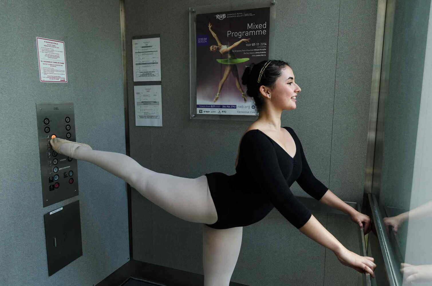 Adriana Ardila poses for a photo at the Royal Winnipeg Ballet school.  Ardila, who is originally from Colombia and now lives in Tallahassee, Florida, flew to Winnipeg for the audition. (EMILY CUMMING / WINNIPEG FREE PRESS)