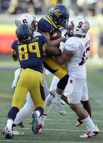 California's Daniel Lasco, second from right, is picked up by Stanford's A.J. Tarpley, right, during the second half of an NCAA college football game Saturday, Nov. 22, 2014, in Berkeley, Calif. At left is California's Stephen Anderson (89). (AP Photo/Ben Margot)