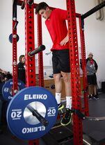 Calgary Flames' Sean Monahan jumps during a test while attending the opening day of NHL training camp in Calgary, Alta., Thursday, Sept. 18, 2014. Monahan is bigger, stronger and ready to play a larger role with the Calgary Flames after a stellar rookie season.THE CANADIAN PRESS/Jeff McIntosh