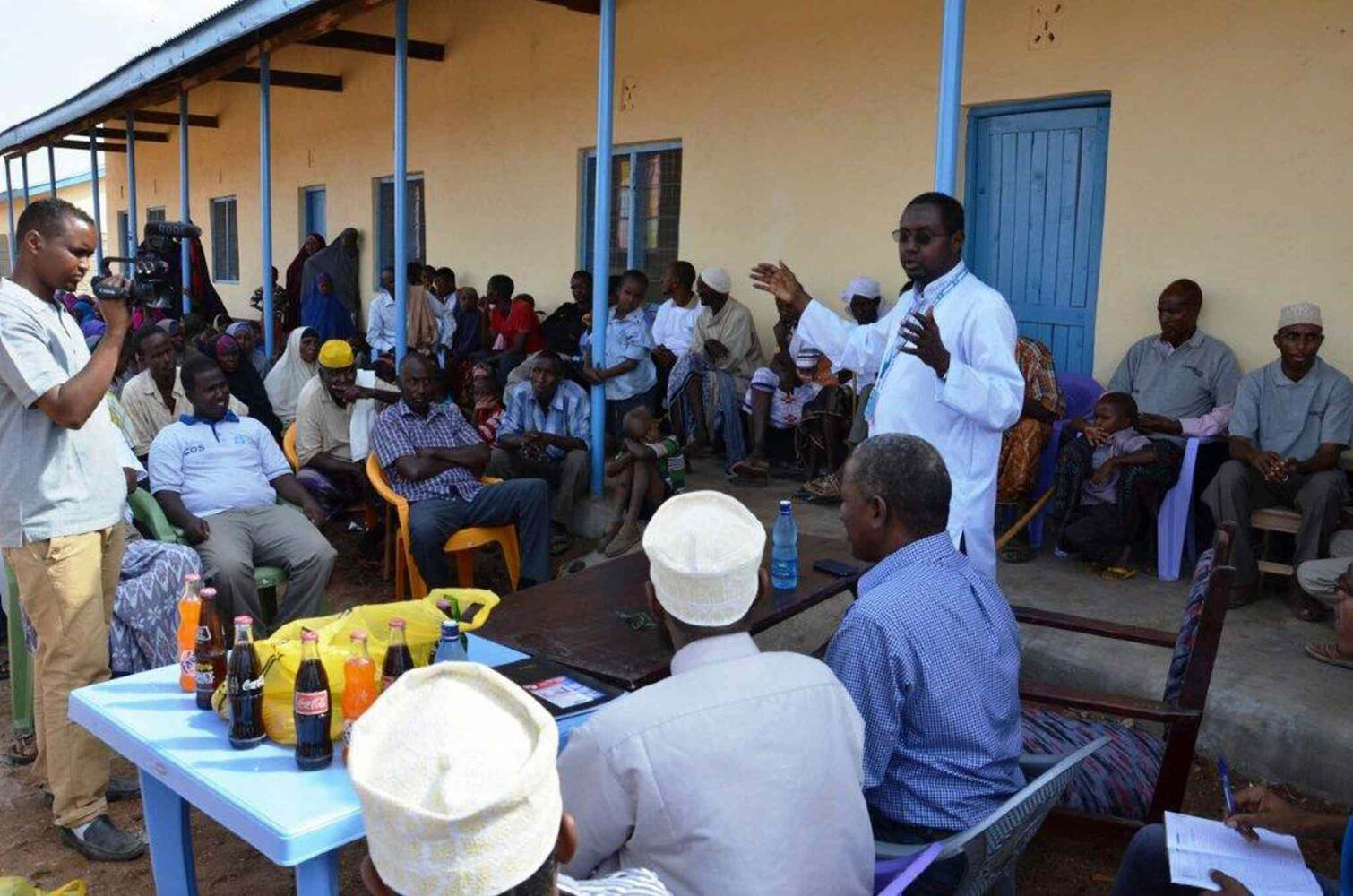 Ahmed Warsame in white shirt -  UNHCR Head of Operations inaugurating the launching of Humankind Academy in Dagahaley camp on Jan. 16, 2013