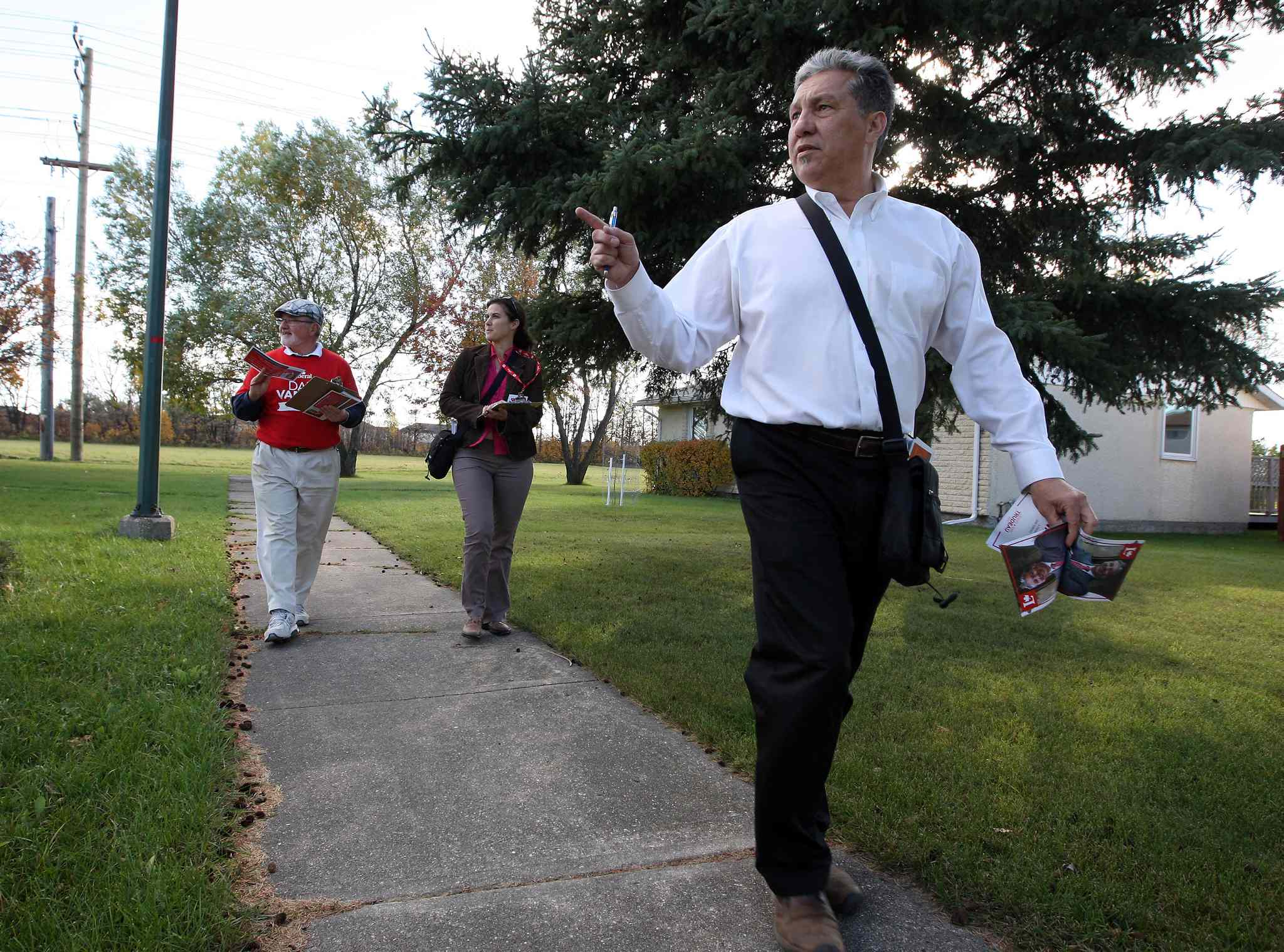 Saint Boniface-Saint Vital Liberal candidate Dan Vandal campaigns in the Southdale area Wednesday.