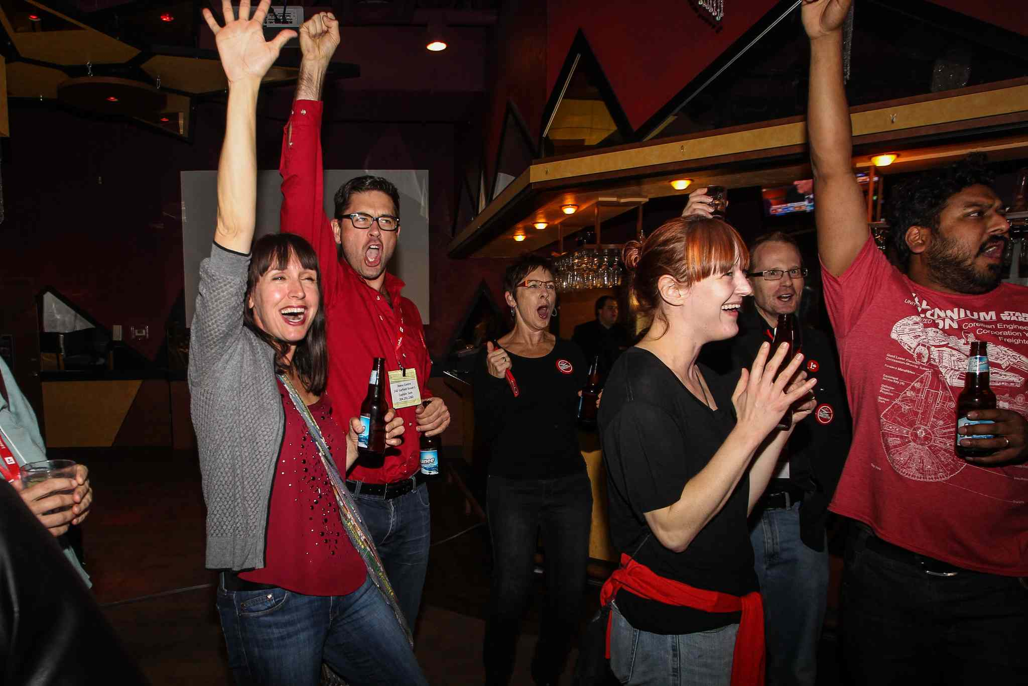 Supporters for Robert Falcon Ouellette, Liberal candidate for Winnipeg Centre, celebrate a huge win, upsetting incumbent NDP Pat Martin in the federal election.