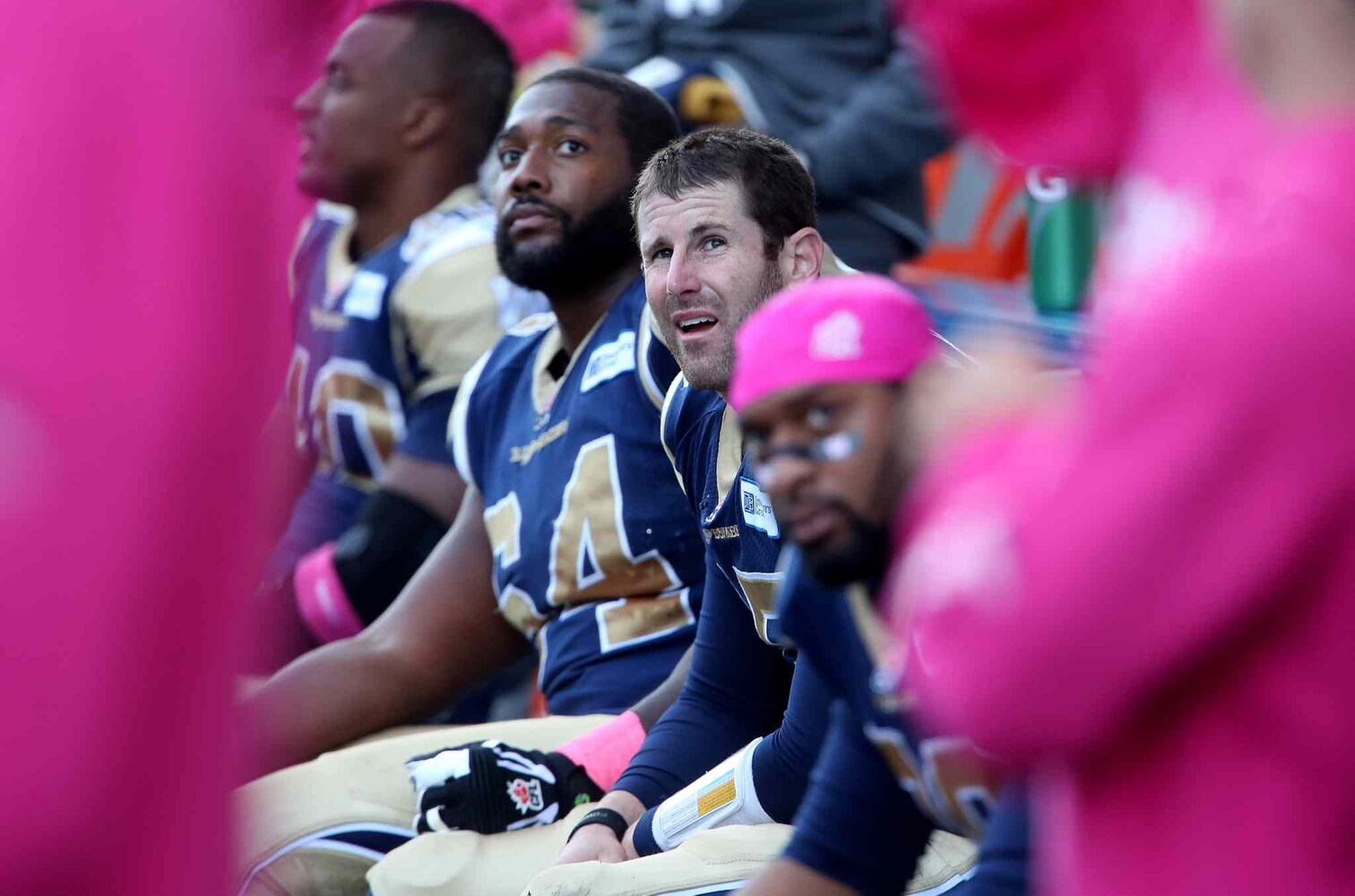 Winnipeg Blue Bombers' quarterback Max Hall (15) can only look on from the bench as the team falls to the Toronto Argonauts.