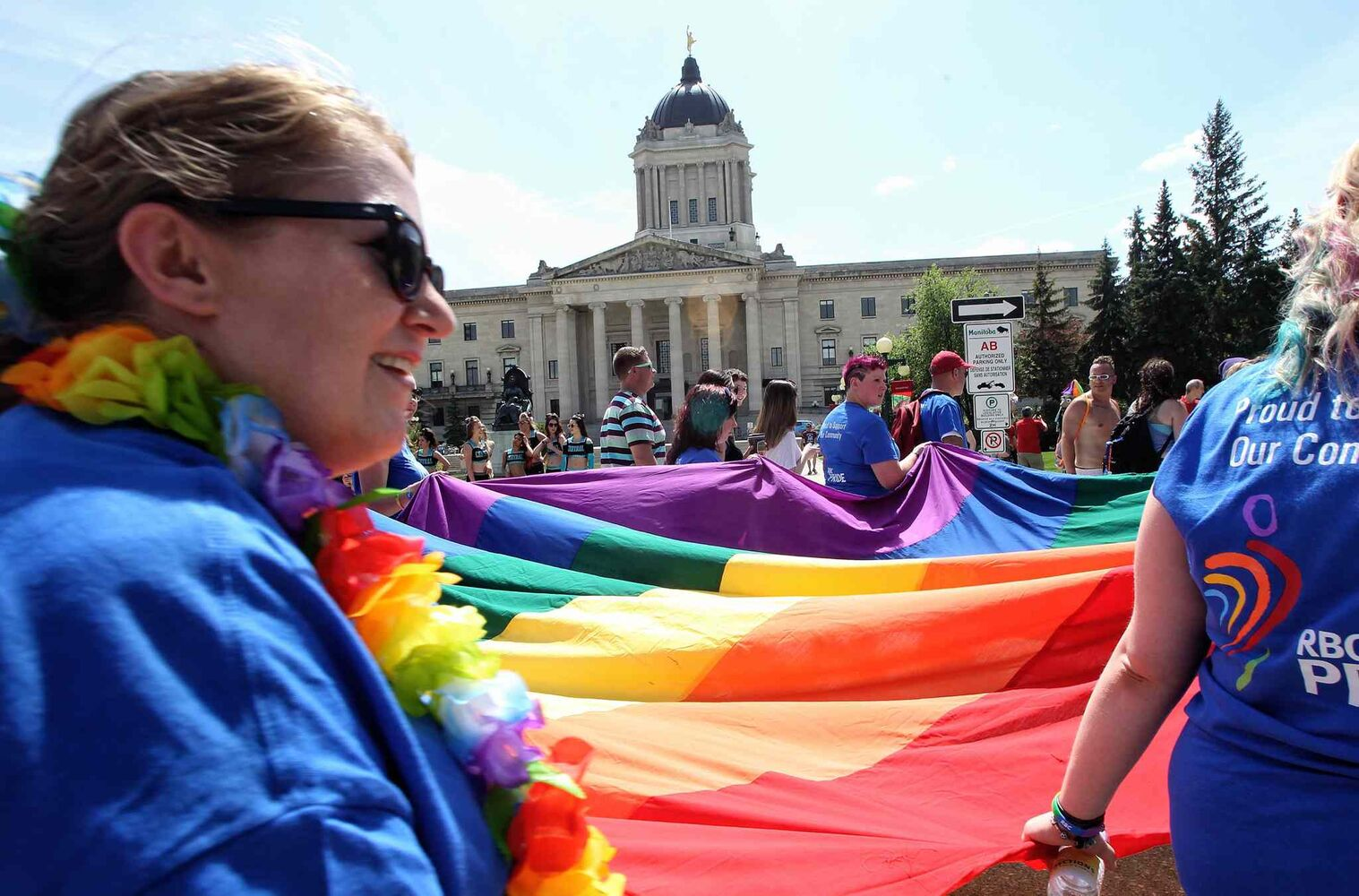 The rainbow flag was aflutter at the 2014 Pride Parade. (Mike Deal / Winnipeg Free Press)