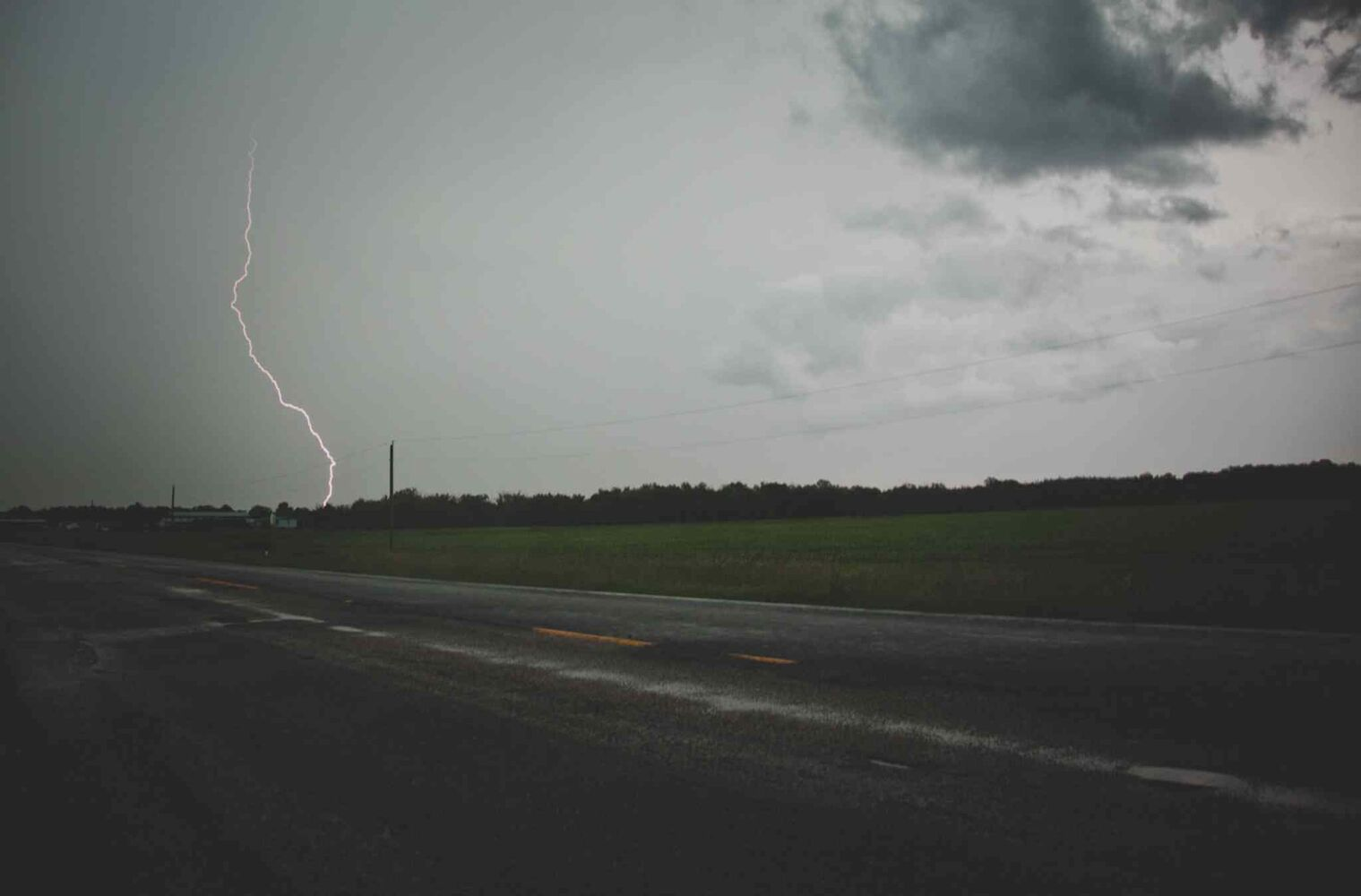 Lightning strikes as pictured from Highway 218 near St. Malo Wednesday evening. (Christine Morin Photography)