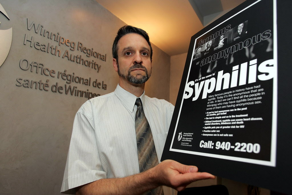 Dr. Pierre Plourde of the Winnipeg Regional Health Authority promoting syphilis awareness in 2004.