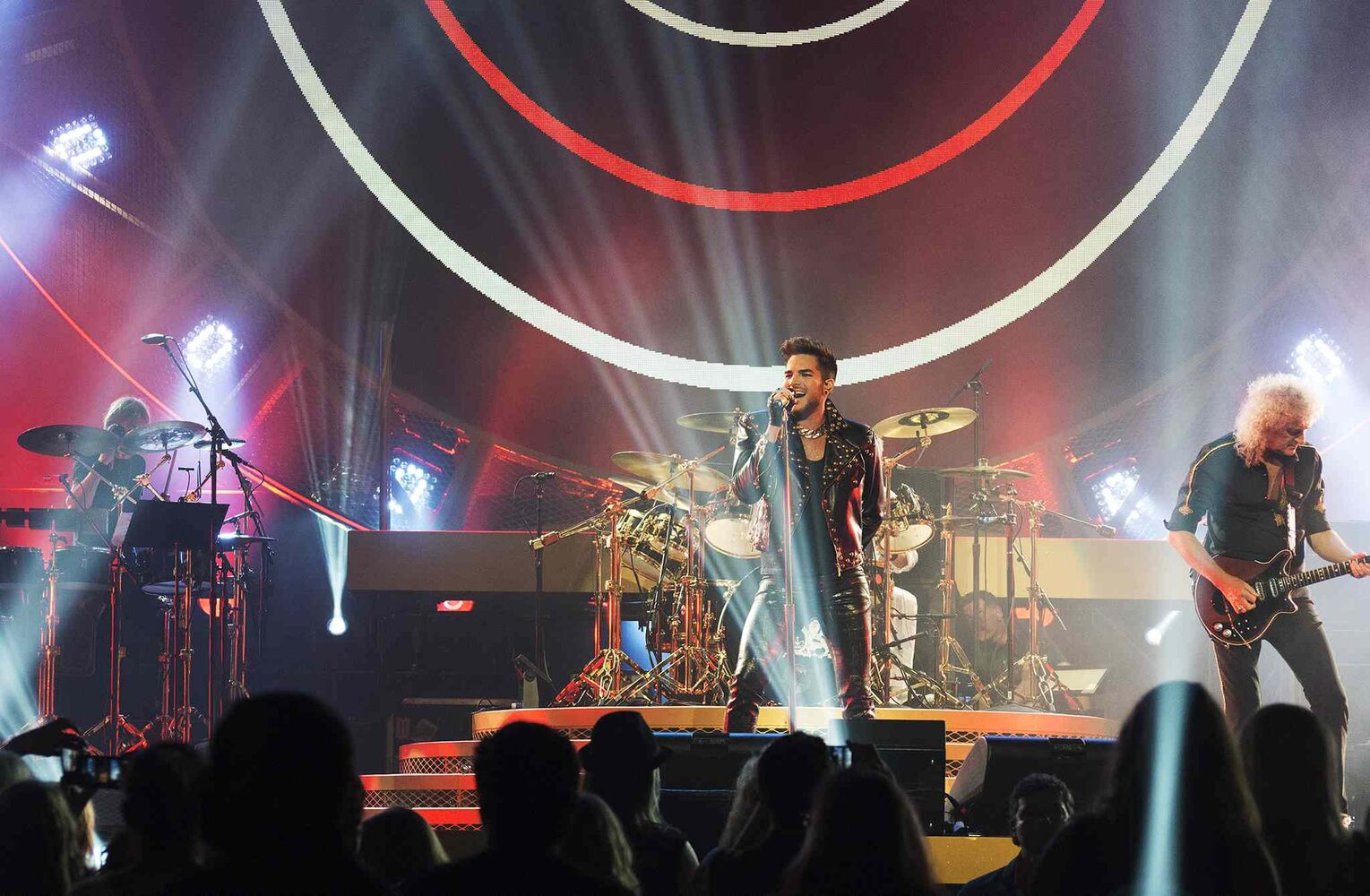 Queen and Adam Lambert perform at the MTS Centre on Saturday night.  (Sarah Taylor / Winnipeg Free Press)