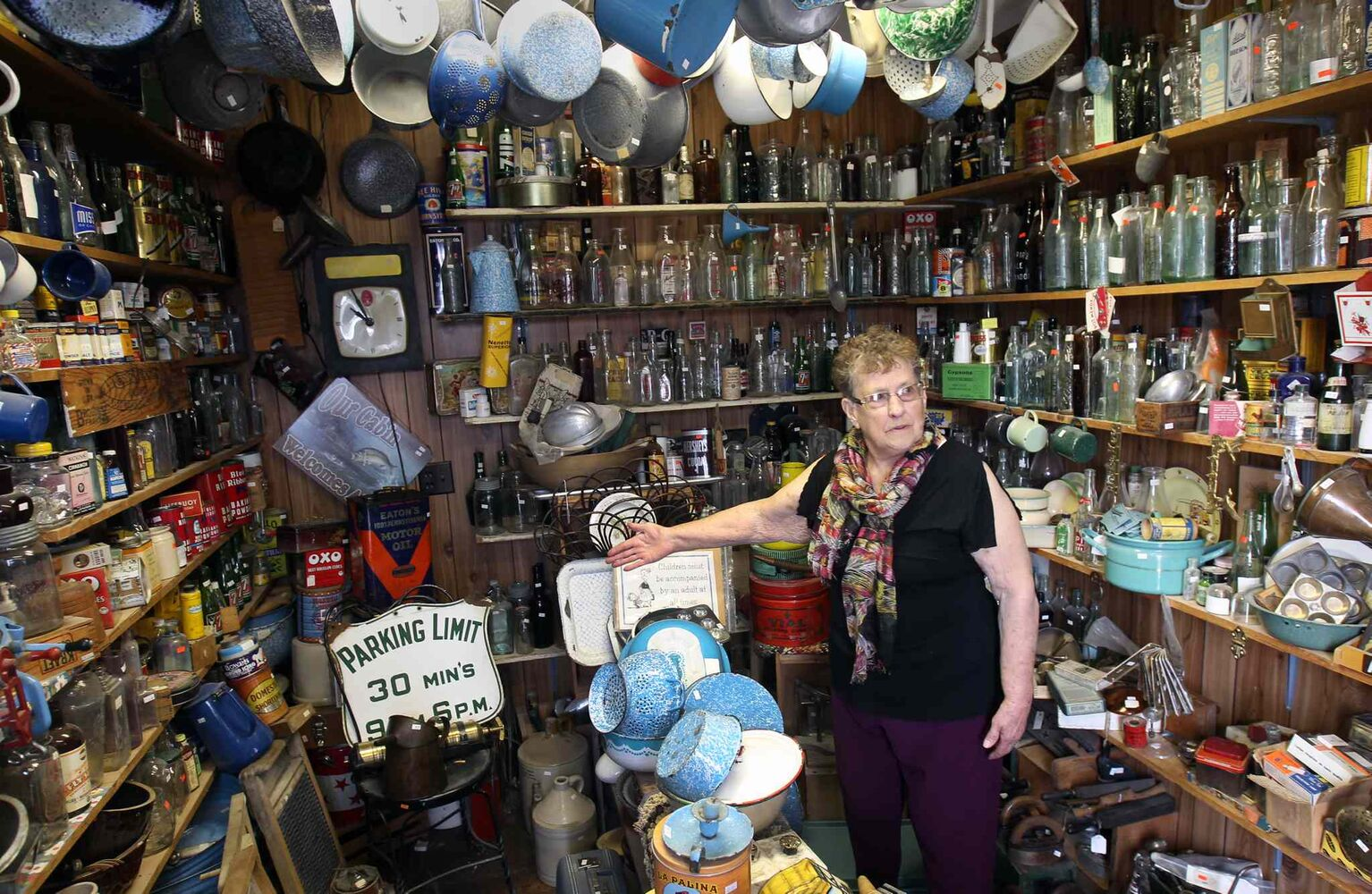 Vivian Proden inside her store to preparing for upcoming sale. owns Junk for Joy just East of  Portage La Prairie, Manitoba on Hyw. #1 - Vivian, 84, is retiring after 34 years in the junk business and is having a 50% off sale starting this Friday. ((JOE BRYKSA / WINNIPEG FREE PRESS))