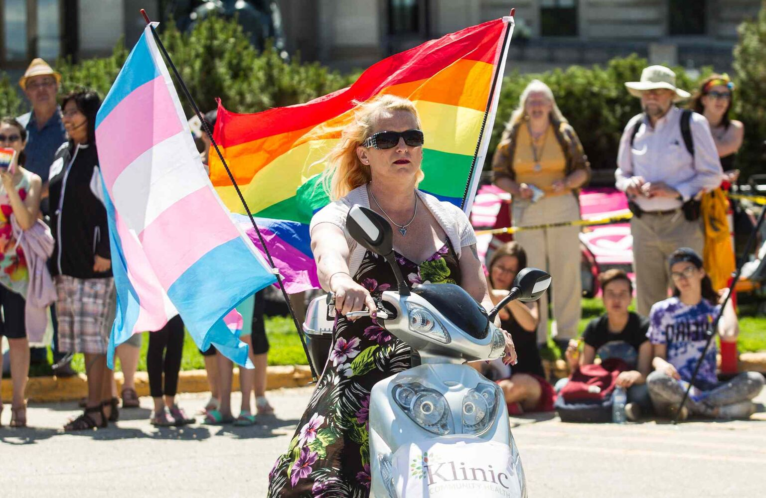 Kelly Harrison takes part in the Pride Parade Sunday. (Mike Deal / Winnipeg Free Press)