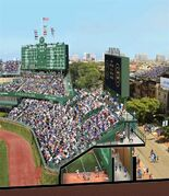 FILE - This file artist rendering released Tuesday, May 27, 2014, by the Chicago Cubs shows a revised renovation plan for the right field bleachers at Wrigley Field in Chicago. WBBM-TV reports Wednesday, April 26, 2014 that renovation may be delayed due to November's cold weather. The concrete needed for the final stages may not be done in time for the April 5 home opener against St. Louis. (AP Photo/Courtesy of the Chicago Cubs)