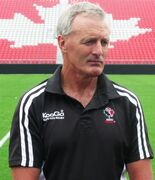 Canadian rugby coach Kieran Crowley speaks at a media availablity on Wednesday Aug. 3, 2011, at BMO Field in Toronto. Crowley and the Canadian rugby team are about to embark on a key summer, one that will sorely test their resources and ultimately determine whether Canada returns to the Rugby World Cup. THE CANADIAN PRESS/ Neil Davidson