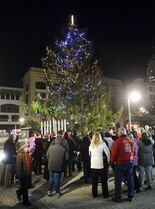 In this photo taken on Friday, Nov. 21, 2014, residents look on duing the Christmass the tree lighting in Reading, Pa. Reading's spindly 50-foot spruce drew the ire of residents who said it was ruining their holiday spirit. Now a group led by the city council president is raising money to buy and decorate a more impressive replacement. (AP Photo/Reading Eagle, Ben Hasty)