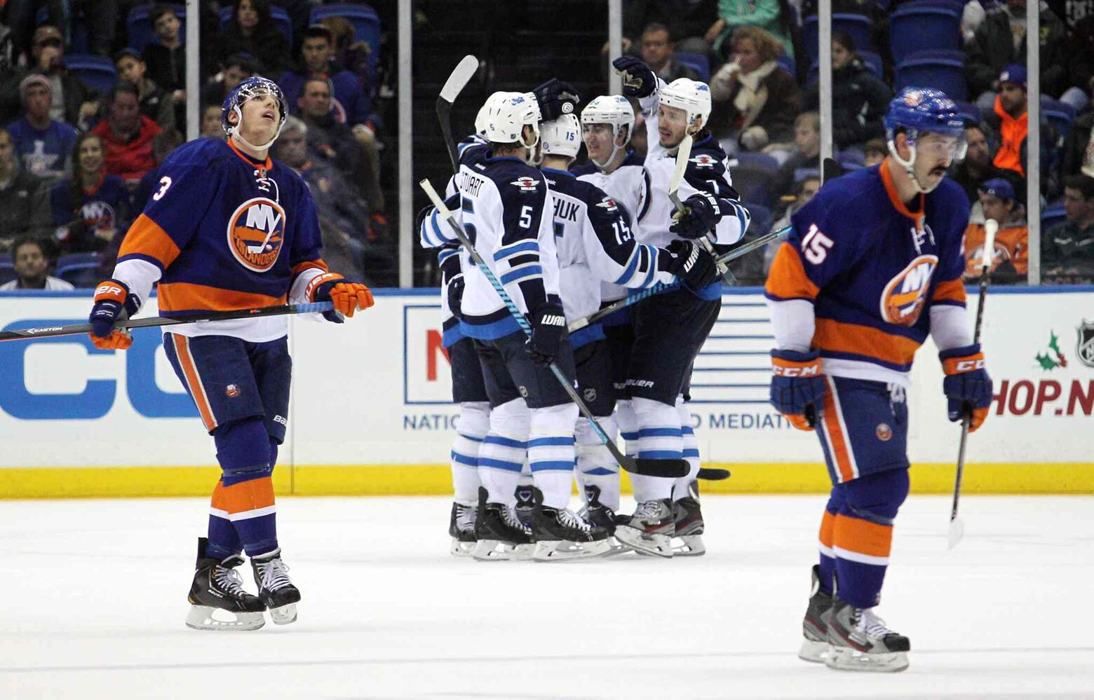 The Winnipeg Jets celebrate a goal during the second period.