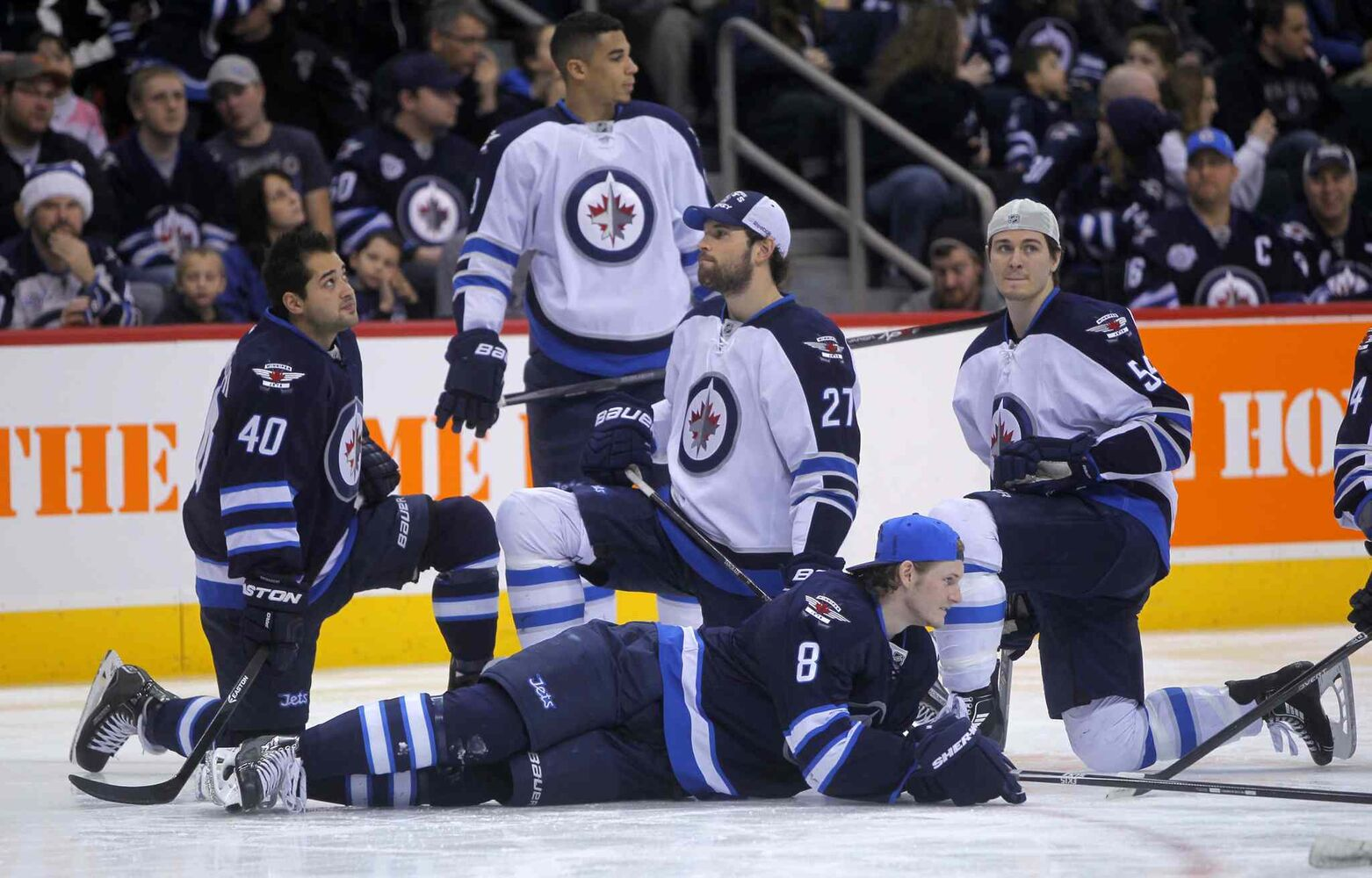 Members of the Winnipeg Jets were split up into Team White and Team Blue for the skills competition. Clockwise, from left: Devin Setoguchi, Evander Kane, Eric Tangradi, Mark Scheifele and Jacob Trouba.