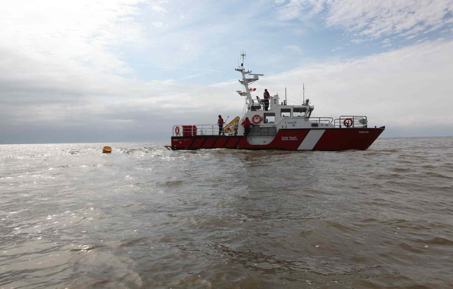 A coast guard vessel patrols the waters of Lake Winnipeg.