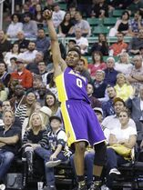 Los Angeles Lakers Nick Young looks on after shooting a metal-pointer in the fourth quarter during an NBA basketball game against the Utah Jazz Monday, April 14, 2014, in Salt Lake City, Utah. The Lakers won 119-104. (AP Photo/Rick Bowmer)
