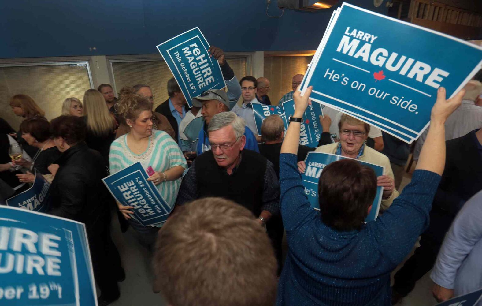 Larry Maguire was in the building following Monday night's election results at Maguire's campaign office.  (Bruce Bumstead / Brandon Sun)