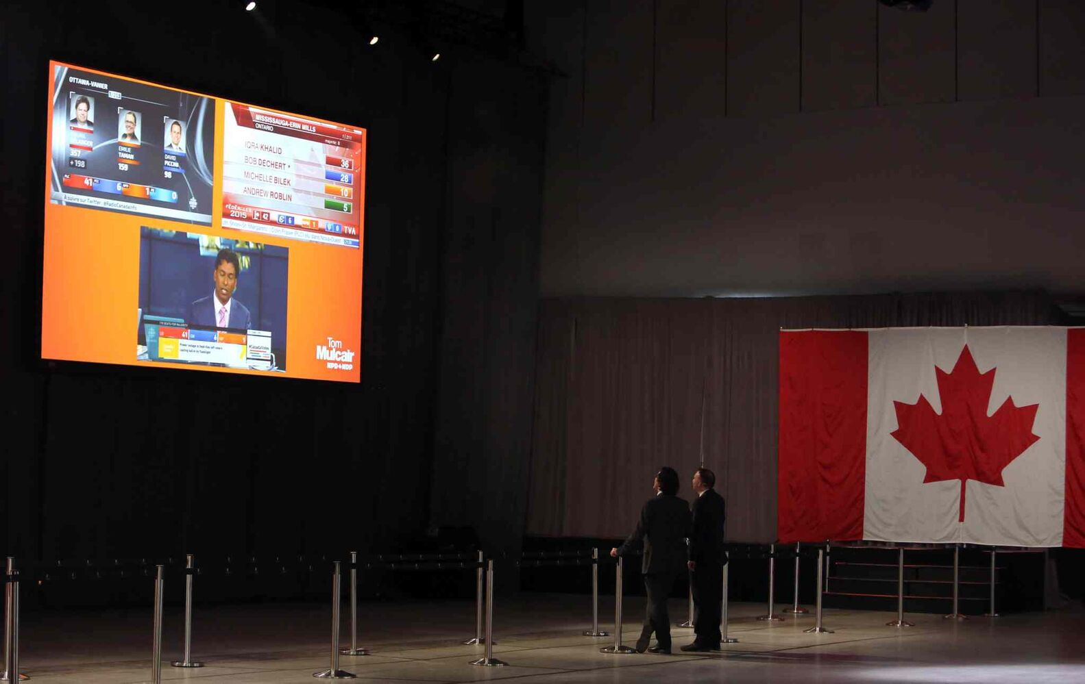 NDP supporters watch election results come in at the NDP election centre in Montreal, Monday October 19, 2015. THE CANADIAN PRESS/Fred Chartrand (CP)