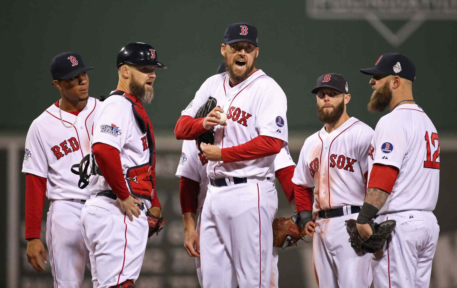 Boston Red Sox pitcher John Lackey yells to manager John Farrell to stay in the game to face Matt Holliday in the seventh inning. (Chris Lee / St. Louis Post-Dispatch / MCT)