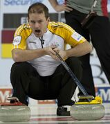 Manitoba's Reid Carruthers yelling at the Brier during an 11-3 win over Northwest Territories Tuesday morning at the Scotiabank Saddledome.