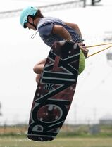 Ashley Leugner practises for the National Wake Park Championships at Adrenaline Adventures.
