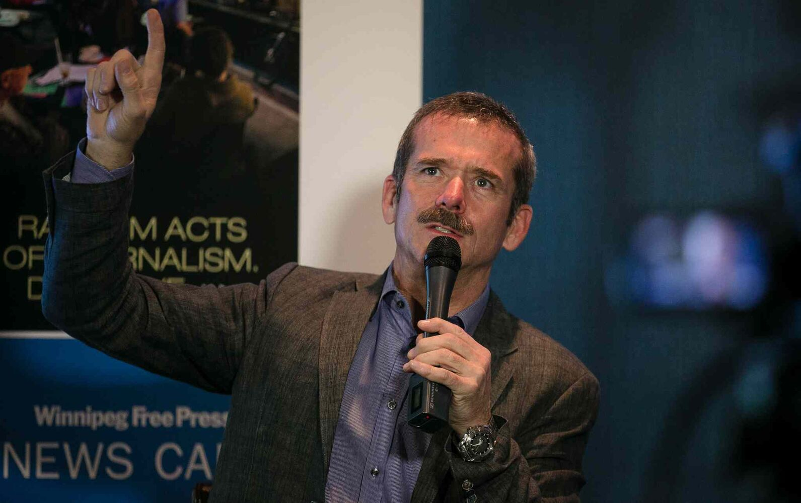 Hadfield, the now-retired astronaut who chronicled life aboard the International Space Station and posted pictures and videos on Facebook and Twitter, is on a tour to promote his new book An Astronaut's Guide to Life on Earth. (Melissa Tait / Winnipeg Free Press)
