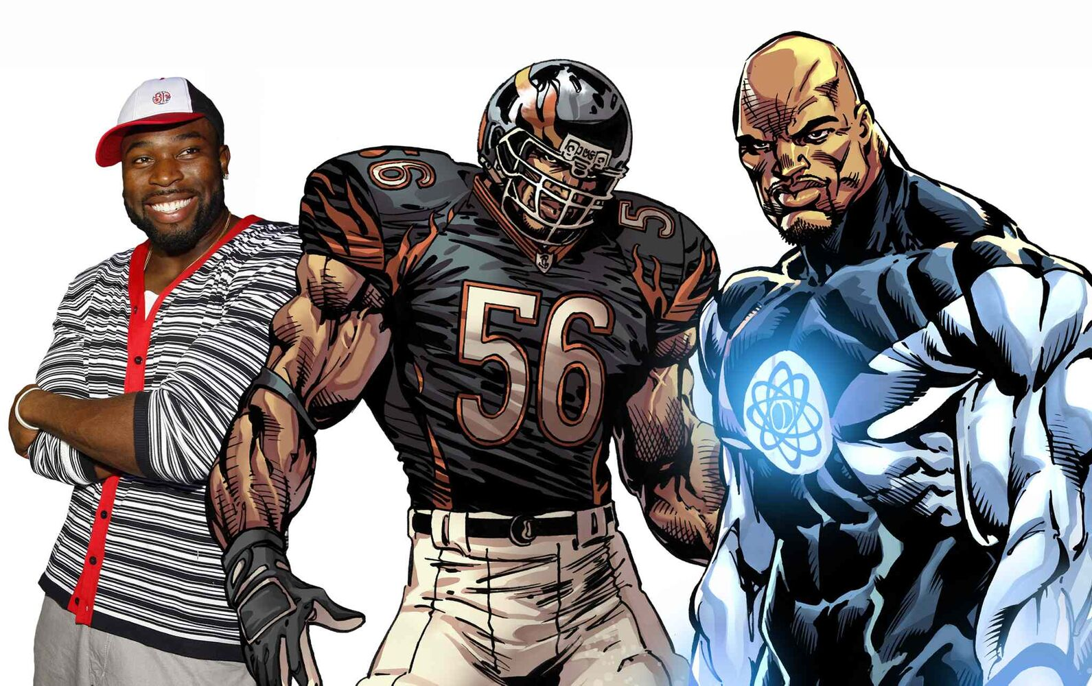 Israel Idonije, left, said one of The Protectors characters — a bearded, bald defensive end from Africa — is not based on him.