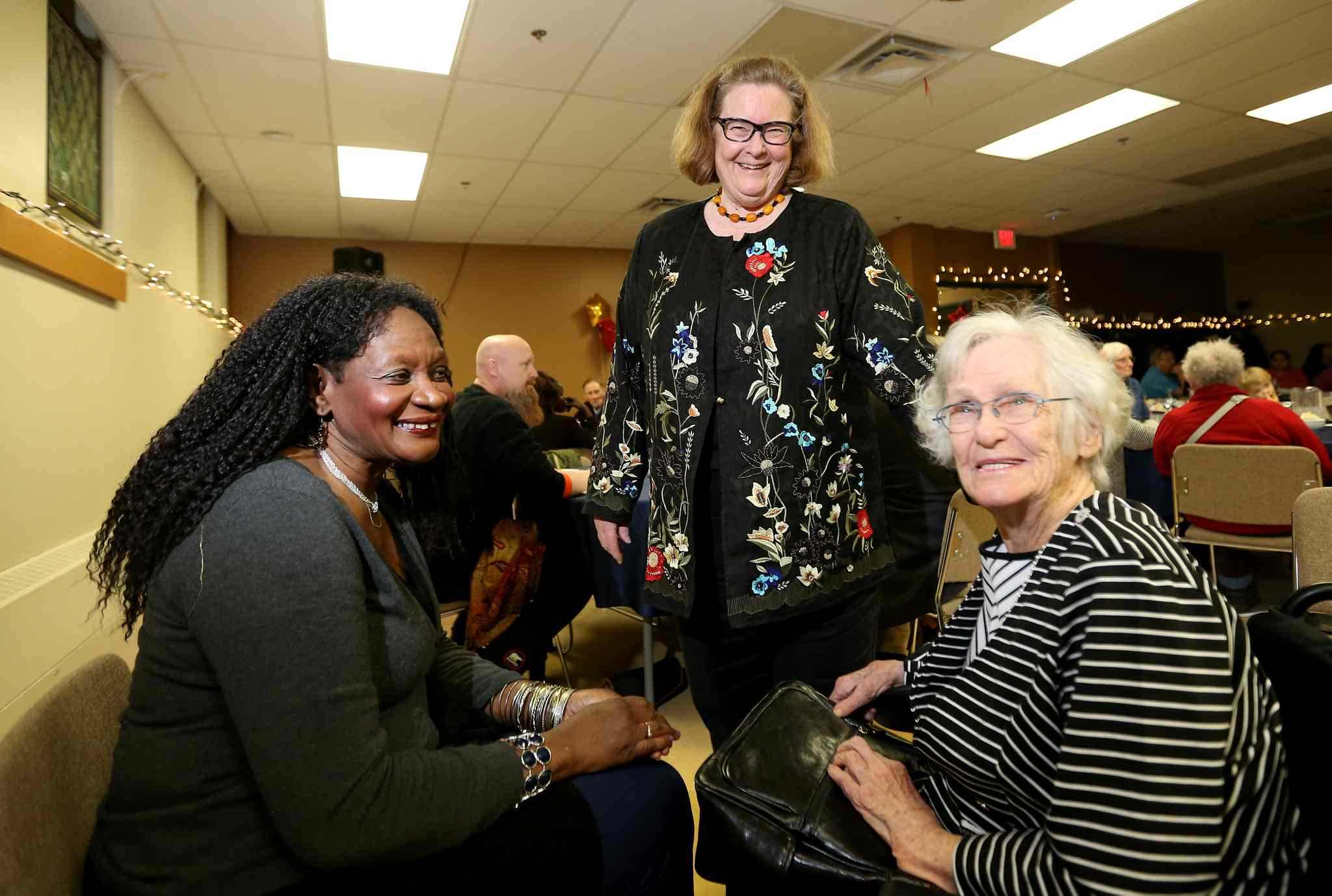 Rev. Lorna Howell, Rev. Cathy Campbell and her mother, Mary Campbell, visit at WestEnd Commons during Cathy's retirement dinner Jan. 16.