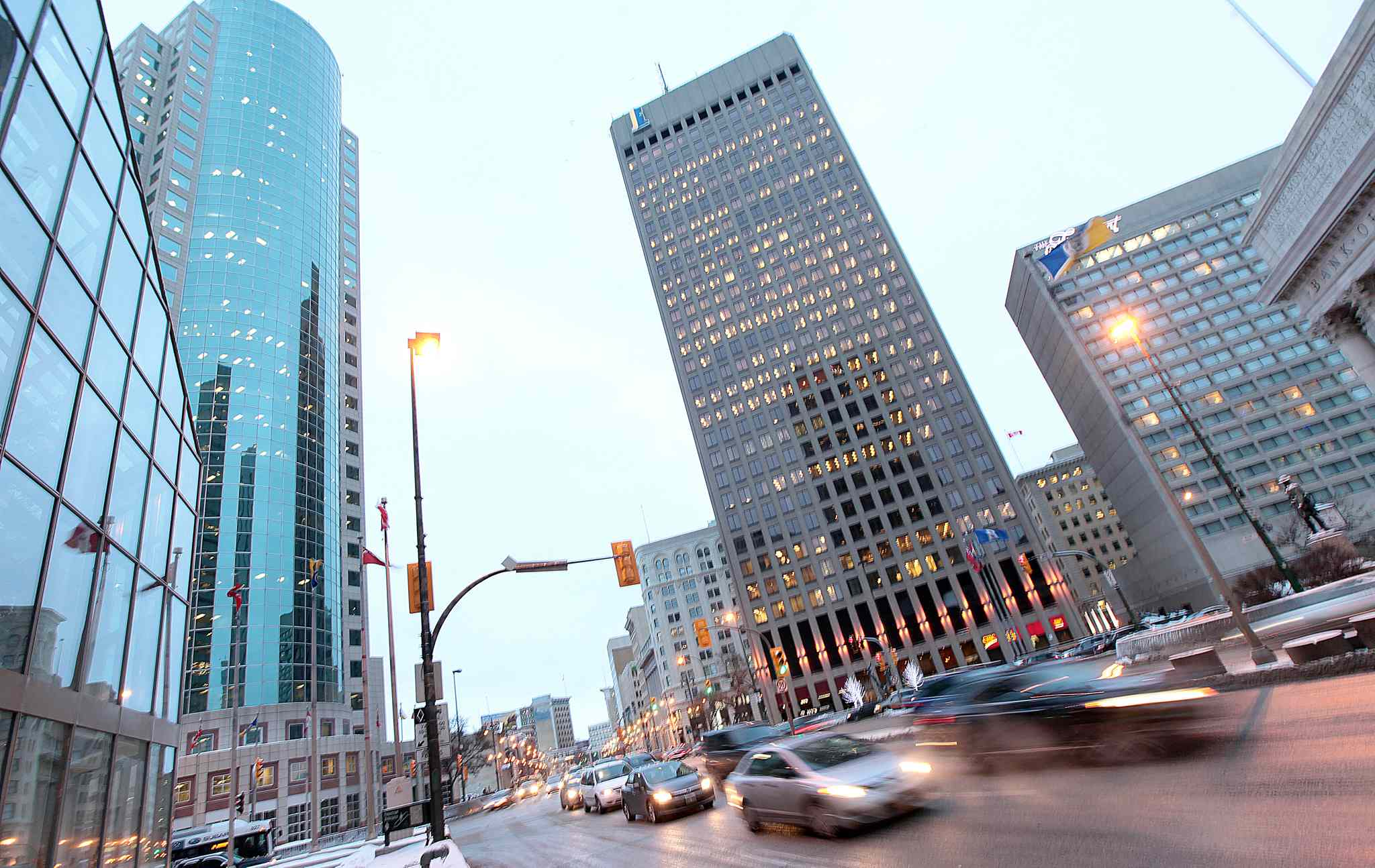 Rush hour traffic moves through Portage and Main Monday afternoon.