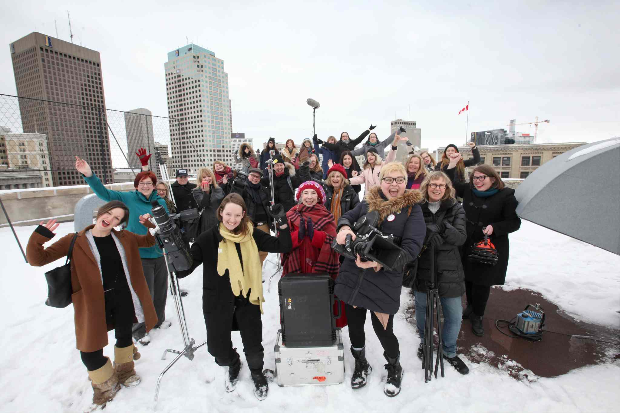 Local female filmmakers and videomakers on the rooftop of ArtSpace.
