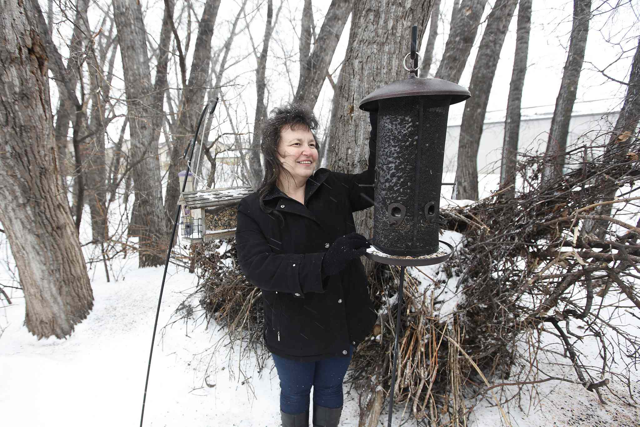 Olga Mokriy attends to bird feeders at an ecological reserve behind her property on Aberdeen Avenue Sunday.