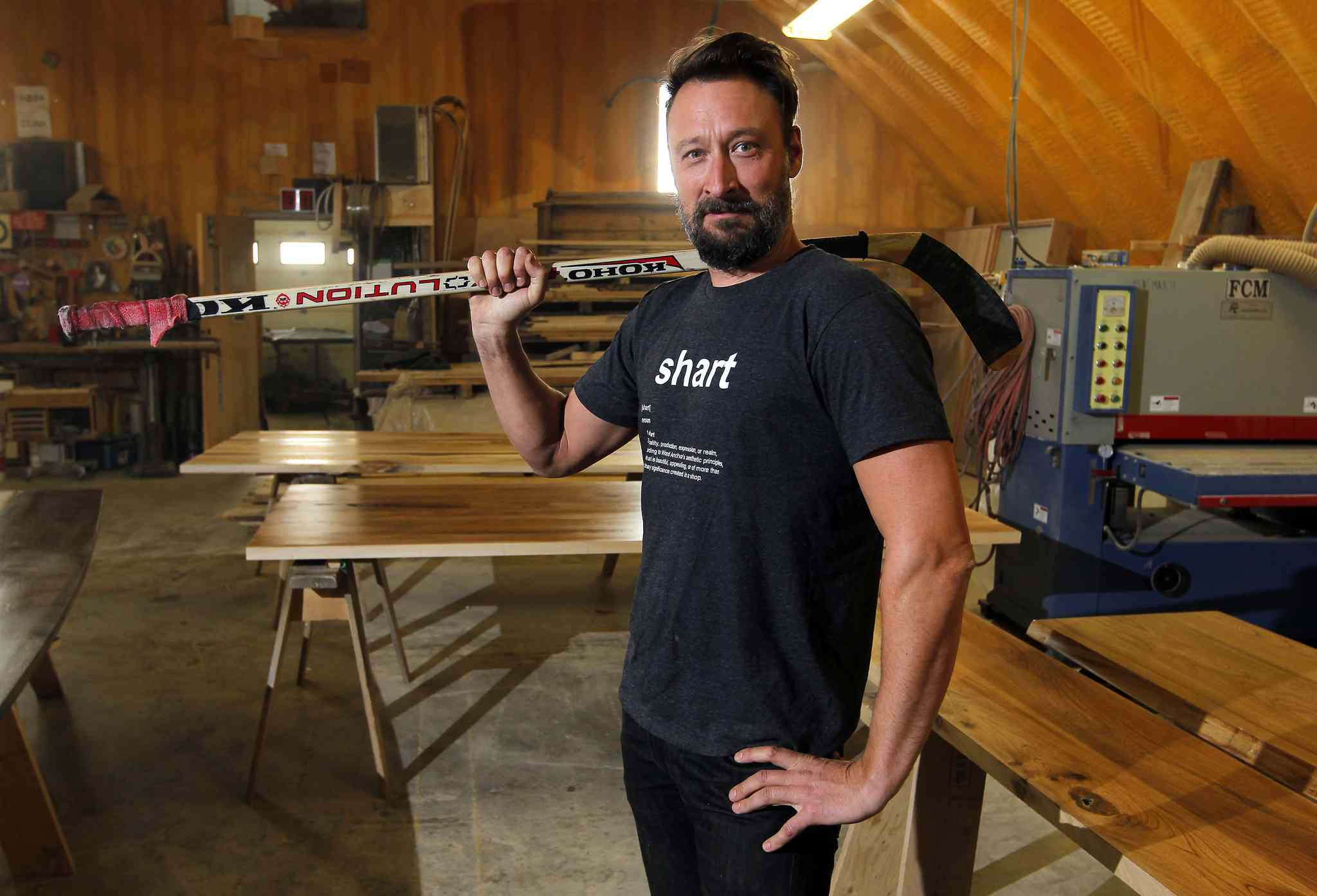 Wood Anchor's Jason Neufeld needs 30 to 40 hockey sticks to create sculptures for The Forks Market, which is undergoing a renovation.