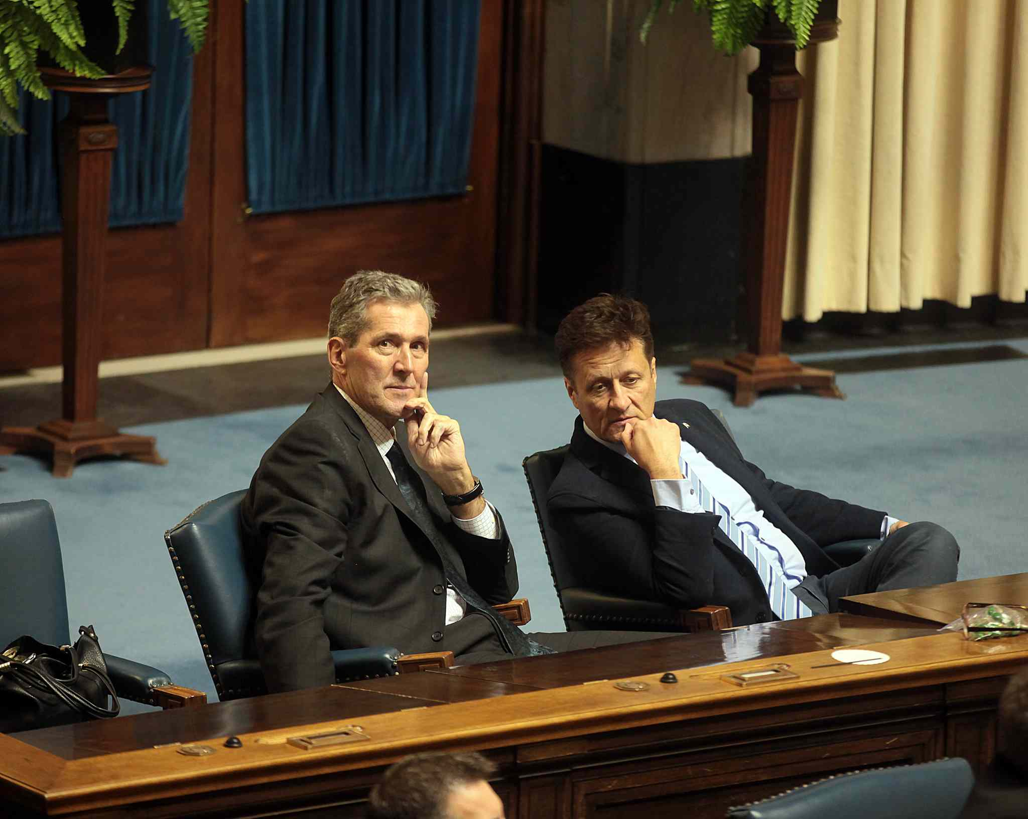 Pallister and MLA Ron Schuler at the closing of the 40th session of the Legislature. The Tories have spent 16 years in opposition.