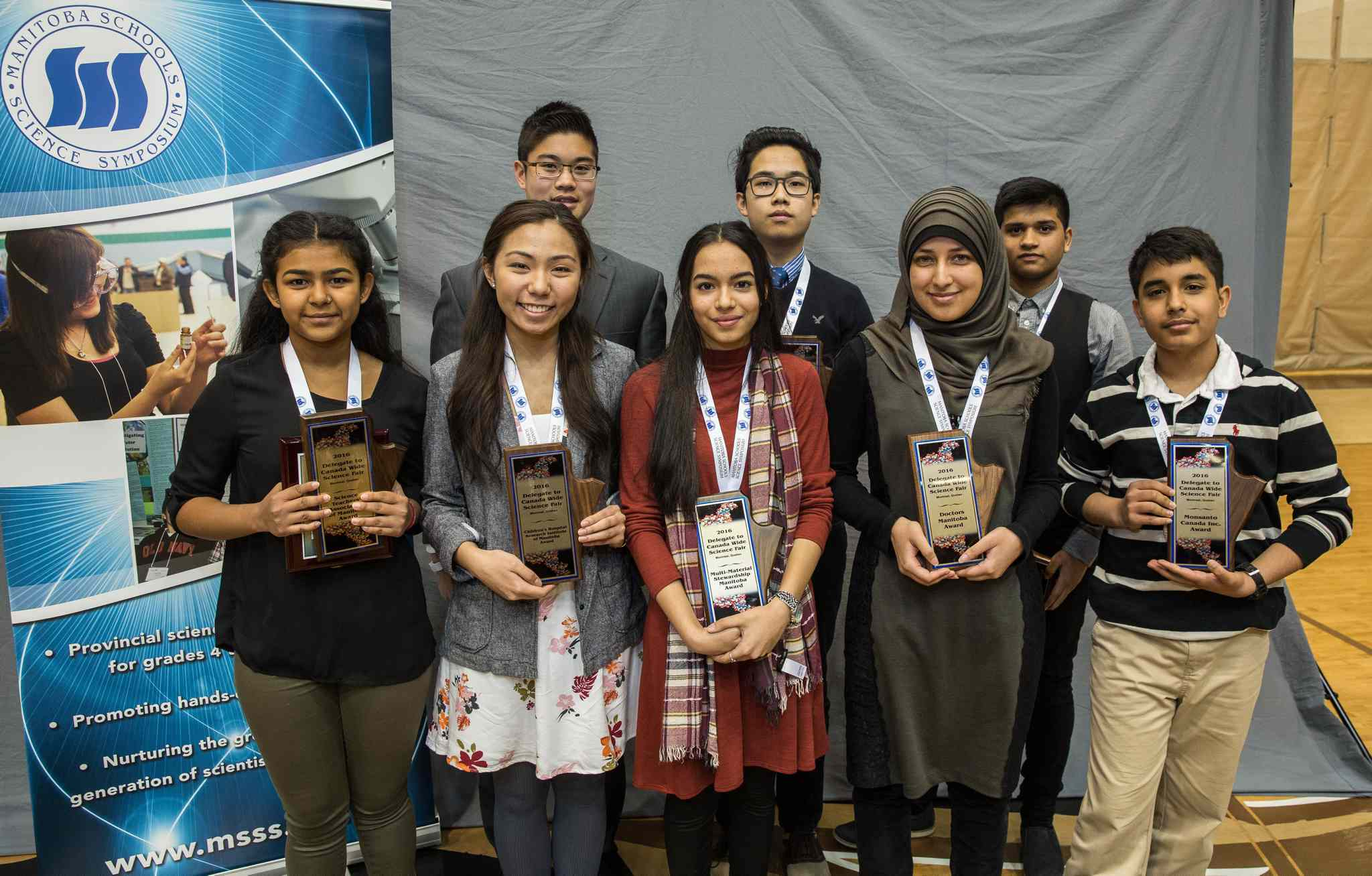 Eight students were chosen to represent Manitoba in the Canada-Wide Science Fair in Montreal in May. (Back row, from left) Justin Lin, Derek Yin, Himanshu Sharma. (from l-r front row) Maitry Mistry, Winnica Beltrano, Tooba Razi, Iqra Sahar Tariq and Rohan Sethi.