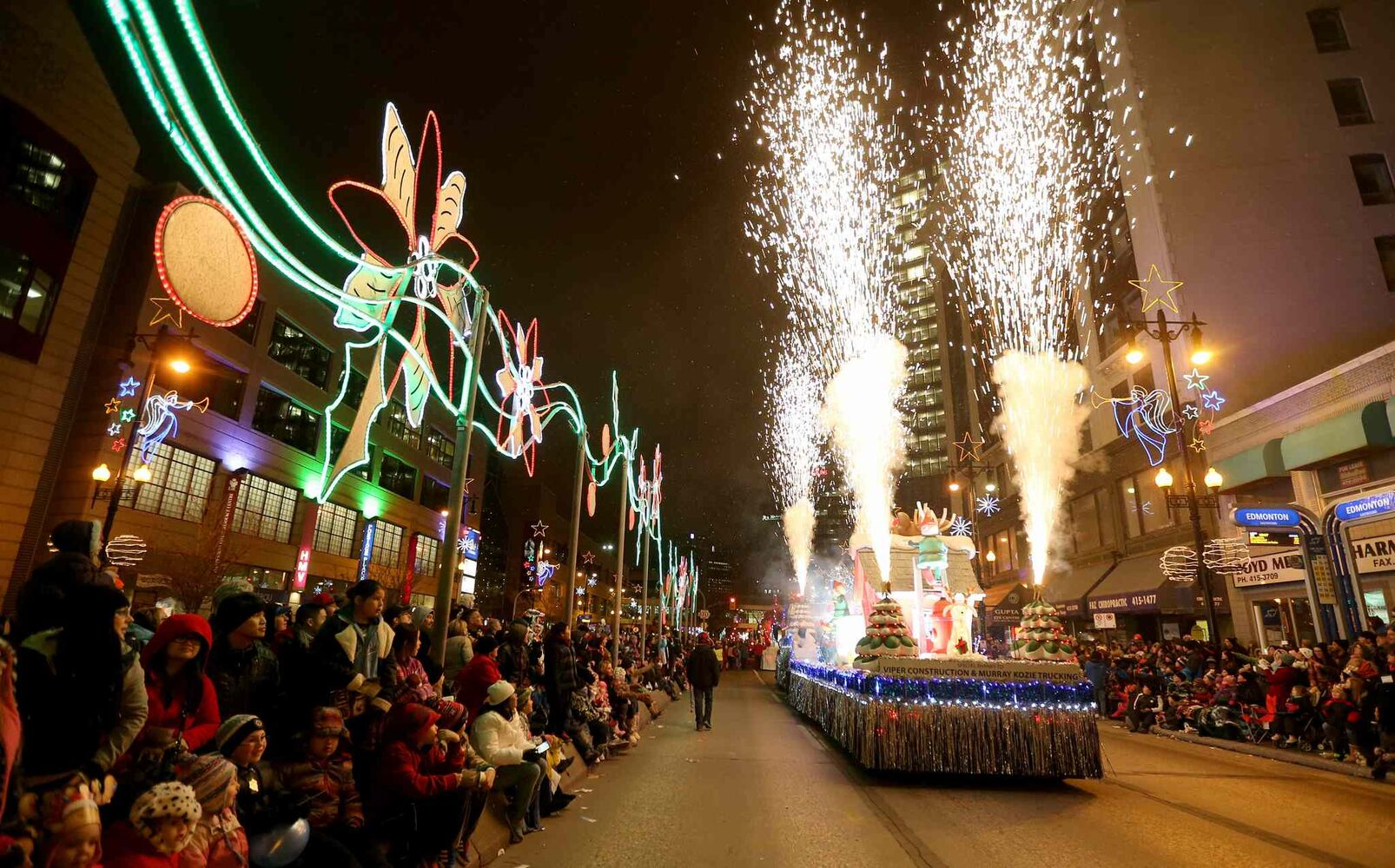 A float lets off some pyrotechnics. (TREVOR HAGAN / WINNIPEG FREE PRESS)