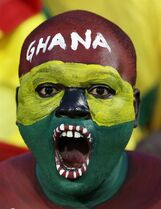 A Ghana soccer fan painted in his national colors watches the African Cup of Nations Group C soccer match between Ghana and South Africa in Mongomo, Equatorial Guinea, Tuesday, Jan. 27, 2015. (AP Photo/Themba Hadebe)