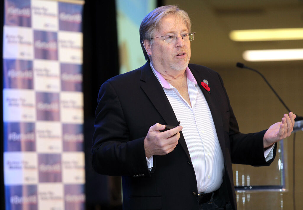 Brandon Sun David McLaughlin, chief strategist for the Manitoba PC Party's election campaign this spring, speaks during a keynote address at the PC Manitoba annual general meeting, Friday afternoon at the Keystone Centre.  (Colin Corneau/Brandon Sun)