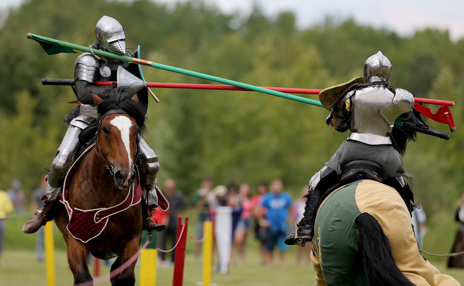 A jousting competition at the Medieval Festival in Cooks Creek Saturday. (Trevor Hagan / Winnipeg Free Press)
