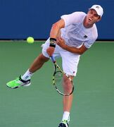 Sam Querrey, of the USA, serves an ace to Dudi Sela, of Israel, at the BB&T Atlanta Open on Wednesday, July 23, 2014, in Atlanta. (AP Photo/Atlanta Journal-Constitution, Curtis Compton) MARIETTA DAILY OUT; GWINNETT DAILY POST OUT; LOCAL TELEVISION OUT; WXIA-TV OUT; WGCL-TV OUT