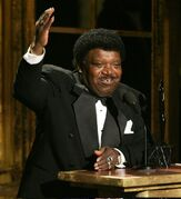 FILE - In this March 14, 2005 file photo, Percy Sledge accepts his award during the Rock and Roll Hall of Fame induction ceremony in New York. Sledge was remembered for phenomenal talent and extraordinary kindness during a funeral service on Tuesday, April 21, 2015, in Baker, La. Sledge, who recorded the classic 1966 soul ballad