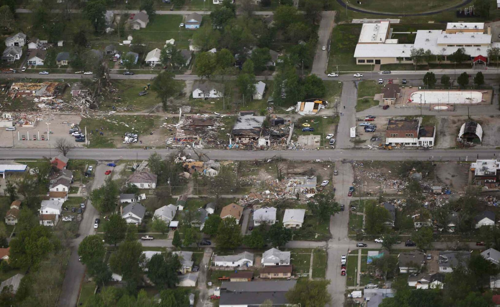 A tornado's path is seen in an aerial photo made over Baxter Springs, Kan., Monday, April 28, 2014. (Orlin Wagner / The Associated Press)