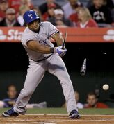 Texas Rangers' Adrian Beltre breaks his bat and grounds out against the Los Angeles Angels during the second inning of a baseball game in Anaheim, Calif., Friday, April 24, 2015. (AP Photo/Chris Carlson)