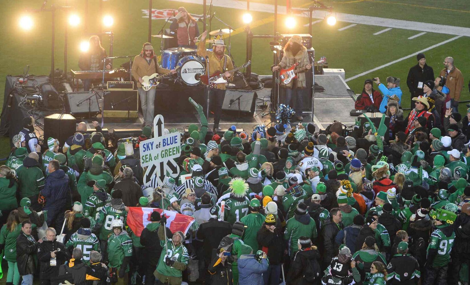 The Sheepdogs perform during pre-game ceremonies at the Grey Cup Sunday. (Liam Richards / The Canadian Press)
