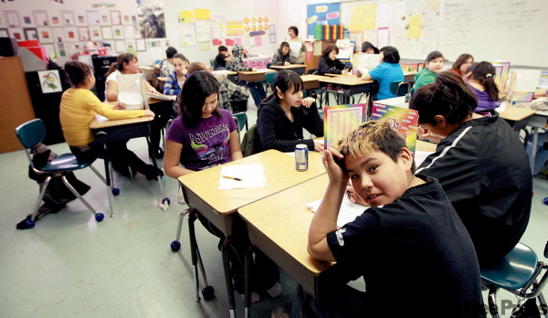 Grade 6 at Fisher River. The school's tight budget means the community is losing its Cree language, its principal says.