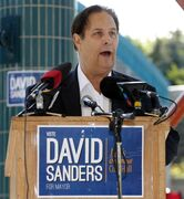 Mayoral candidate David Sanders lays out his election platform Tuesday.