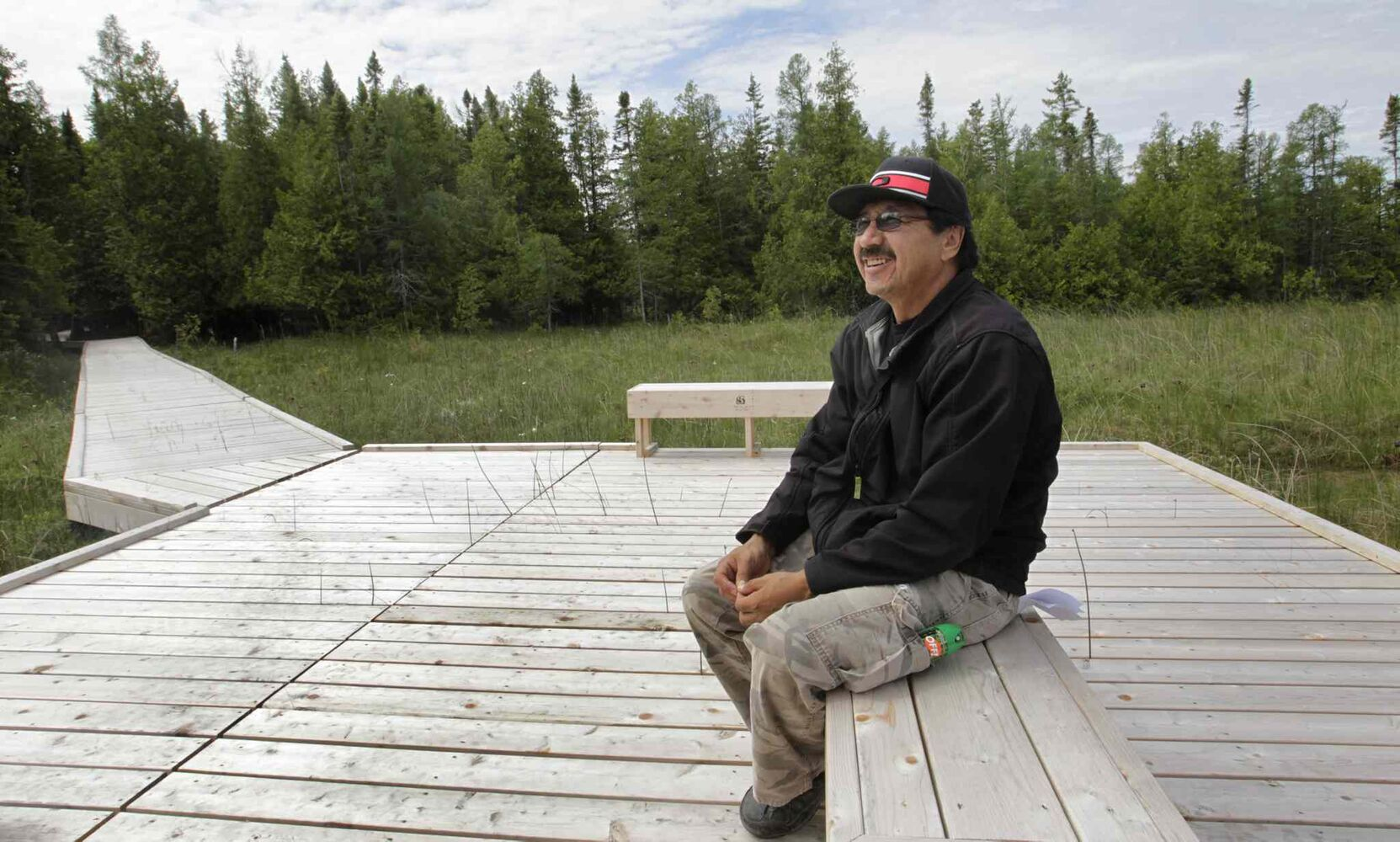 Carl Smith with the Brokenhead Ojibway Nation participates in a  tour of  the Brokenhead Wetland. (Wayne Glowacki / Winnipeg Free Press)